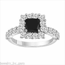 PRINCESS CUT ENHANCED BLACK AND WHITE DIAMONDS ENGAGEMENT RING 14K WHITE GOLD