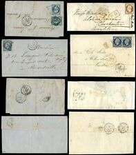 FRANCE 1856-62 IMPERFORATE CLASSIC ISSUES...6 stamps on 4 COVERS...NAPOLEONS