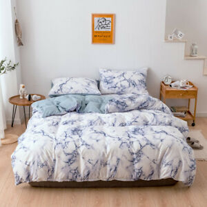 Duvet Cover Set 2/3 Pieces Marble Printed Bedding Sets with Zipper Closure