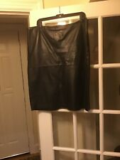 Lafayette 148 brown leather skirt 14 back zip