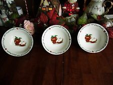 Used 3 Pieces Todays Home Apple Design Stoneware Soup Or Cereal Bowls