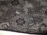"NEW Designer Black Stretch Lycra Lace Fabric 54""138cm High Class Cloth Craft Sew"