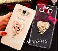 Bling Diamonds love heart Finger Ring Stand Holder 360° Rotation Soft Cover Case