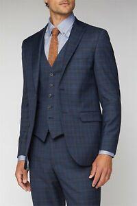 Alexandre London Suit 2 Piece Deep Blue Caramel Check Regular Fit 46R W34 L32