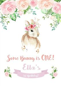 Personalised Some Bunny Turned One Two Birthday Party Poster A4 Wall Sign Banner