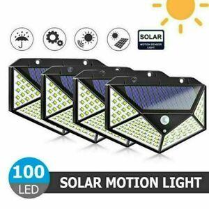 1-4 Pack 100LED Solar PIR Motion Sensor Wall Lights Outdoor Garden Security Lamp