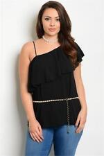 NEW..Plus Size Stylish Elegant Black One Shoulder Top with Pearl Belt..Sz18/2xl
