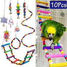 10Pc Pet Bird Parrot Parakeet Budgie Cockatiel Cage Bite Hanging Hammock Toy Set