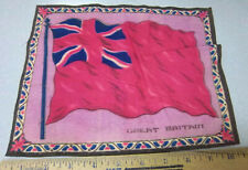 Vintage 1910-1915 Cigar Box Felt silk flag, Great Britain 8 x 10 red style flag