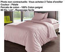 2X VENT DU SUD - Taie d'Oreiller 65 x 65 cm - 100% Coton - Couleur Pétale *NEUF*