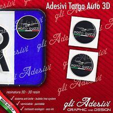 2 Adesivi Stickers bollino 3D Resinato targa Auto Moto MOTO GUZZI NERO e SILVER