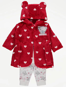Tatty Teddy Baby Girls Red Dressing Gown and Pyjamas 3 Piece Set 0-6 Months NEW