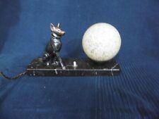 lampe art nouveau art déco décor chien régule signée tedd ancien sur marbre