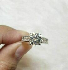 Engagement Wedding Ring 1.75Ct White Round Cut Moissanite 925 Sterling Silver