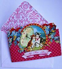 *PUNCH STUDIO Set of 6 Die-Cut Valentine Blank Note Cards ~ Umbrella ~ Kittens