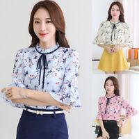 Korean Women Chiffon Flare Sleeve Ladies Floral Career Tops Office Shirt Blouse