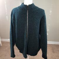 Vintage 60's Men's LL Bean Zip Up Cardigan Sweater Large Wool Alpaca Green