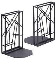 Sriwatana Bookends Black, Book Ends Heavy Duty for Shelves Non-Skid & Artistic