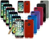 New Gel Silicone Cover Phone Case For Apple Iphone Mobile Phone + Tempered Glass