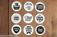 54: Thank You Stickers black white label bonbonniere favour Cello Lolly Seal 5cm