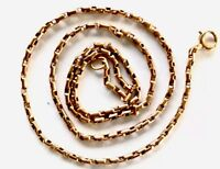 Antique 9ct Rose Gold Box Link Chain Necklace 16 Inches Long