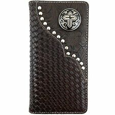 Premium Western Cowboys Mens Wallet Brown Leather Cross Carved Design