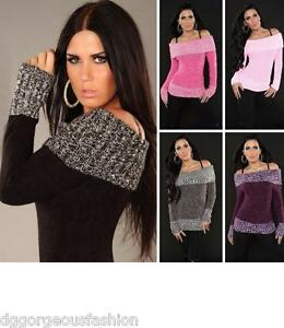 Sexy Jumper Sweater Tops Ladies Womens Knitted Boat Neck UK