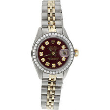 Ladies 6917 Rolex DateJust Jubilee 18K Gold / Steel Diamond Watch Red Dial 1 CT.