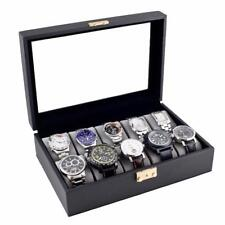 10 WATCH CASE BLACK FINISH DISPLAY STORAGE BOX WITH GLASS TOP- NEW WITH DEFECTS