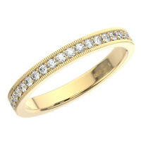 2.5mm Round Brilliant Cut Diamonds Half Eternity Wedding Ring in 9K Yellow Gold