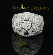 10K White Gold Finish Silver CZ Men's Adjustable Ring Size from 10 to 12