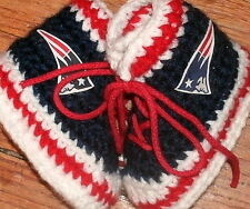 Handmade Crochet New England Patriots Football Blue High Tops Baby Booties
