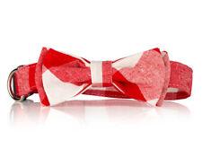 Red Plaid Bow Tie Dog Collar-  Stylish Custom Dog Collar (Bow Tie Collar)