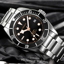 41mm CORGUET black dial Sapphire Glass date NH35 Automatic diving mens Watch