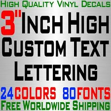 "Personalized 3"" Custom Text Name Vinyl Decal Sticker Car Wall Lettering Number"