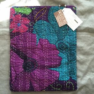 "Pottery barn teen Kantha Cloth Coverlet  60 x 80"" purple green aqua blue blanket"