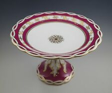 c.1850 ROCKINGHAM ENGLISH PORCELAIN LG CAKE STAND, TAZZA, MAROON GOLD, CHAIN