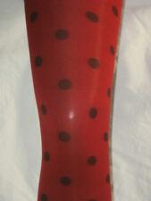Dark Red Spotty Tights. Black Dots Polka Dot 8-12 New Opaque Tan