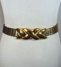Vintage Gold Tone Metal Snake/Fish Scale Retro Womens Fashion Belt Stretch MOD