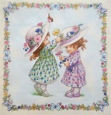 "Sunbonnet Emma Children at Play Butterfly Frame 10"" quilt block Square  #15"