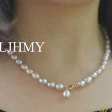 Classic Purple Freshwater Pearl Cultured 6-7mm Necklace Choker Collar Elegant