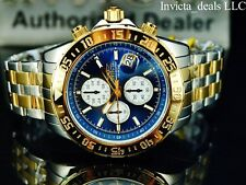 Invicta Men's 47mm Aviator Maverick Chronograph Blue Dial Two Tone GP SS Watch