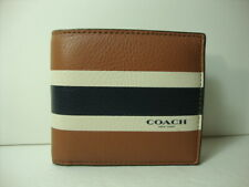 NWT Coach Compact ID Varsity Calf Leather wallet F75086