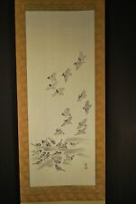Japanese Hand Painted On Silk Signed Sumi-E Scroll / Comes in Two Storage Boxes