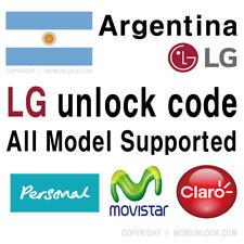 Argentina Personal Claro Movistar LG Unlock Code Q6 G5 K10 K8 K4 Stylus 3 All