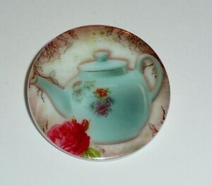 "Pretty Blue Teapot w/ Flowers  Button - Mother of Pearl MOP Shank Button 1+3/8"""