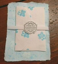 Handmade paper/envelope set - Aqua Butterflies (834)Free Shipping