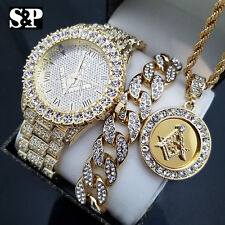 MENS ICED HIP HOP GOLD PT MASONIC FREEMASON WATCH & NECKLACE & BRACELET SET