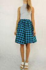 VINTAGE 70s Blue Green Plaid Taffeta Circle Skirt Size XS