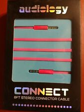 NIP AUDIOLOGY CONNECT 6FT STEREO CONNECTOR CABLE 3.5MM PINK MALE TO MALE FLAT